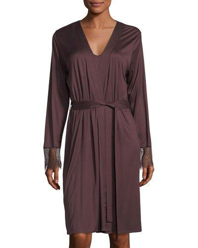 Hanro Estelle Lace-Paneled Modal And Silk-Blend Jersey Robe In Plum