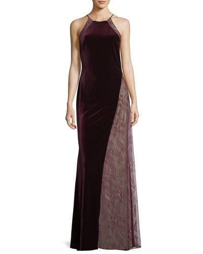 a3e007e7b950 Badgley Mischka Velvet/Lace Sleeveless Halter Column Evening Gown In Merlot