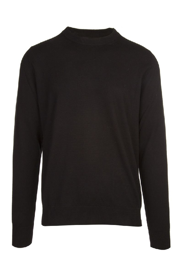 Maison Margiela Wool Patched Sweater In Nero