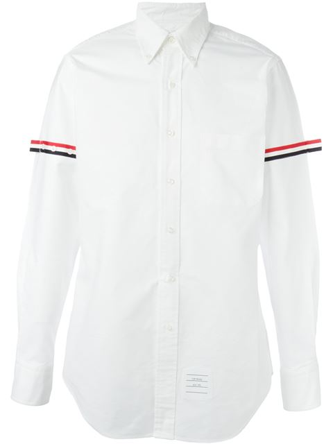 Thom Browne Slim-Fit Button-Down Collar Grosgrain-Trimmed Cotton Oxford Shirt In 100 White