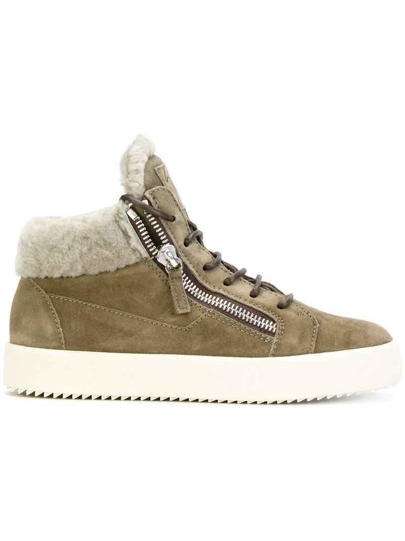 a95e49f9024d23 GIUSEPPE ZANOTTI. Women s May London Suede Shearling Lined Mid Top Sneakers  ...