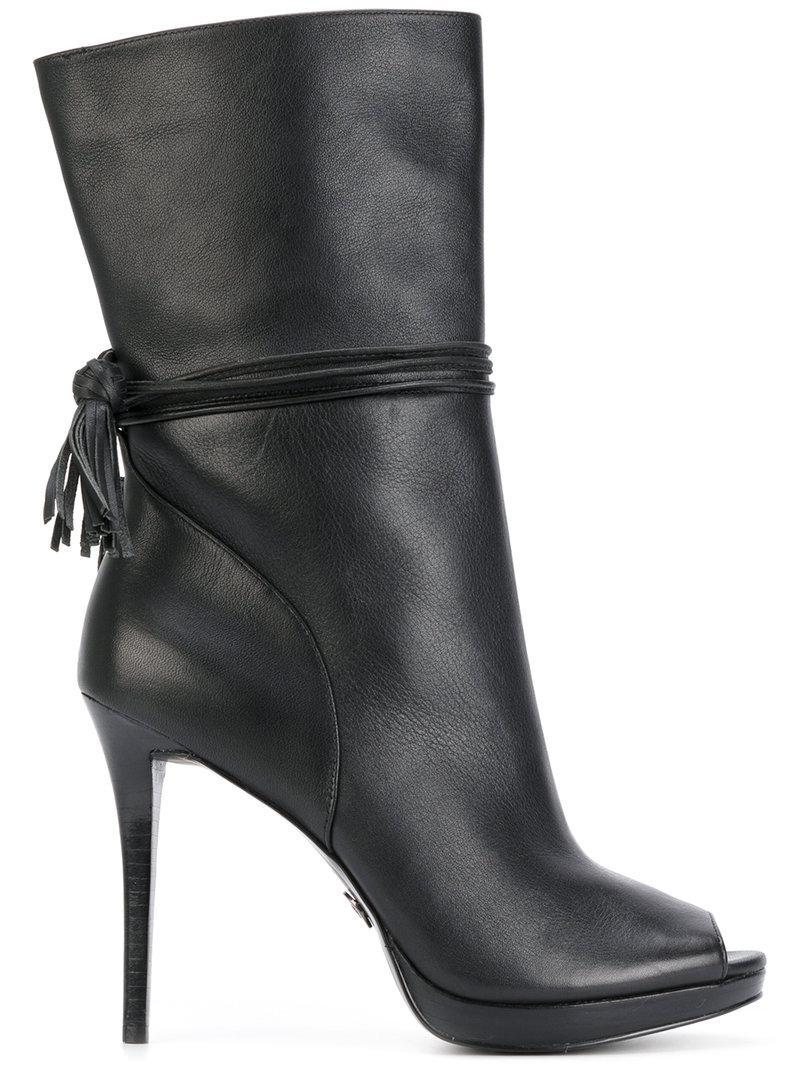 Michael Michael Kors Open Toe Platform Boots In Black