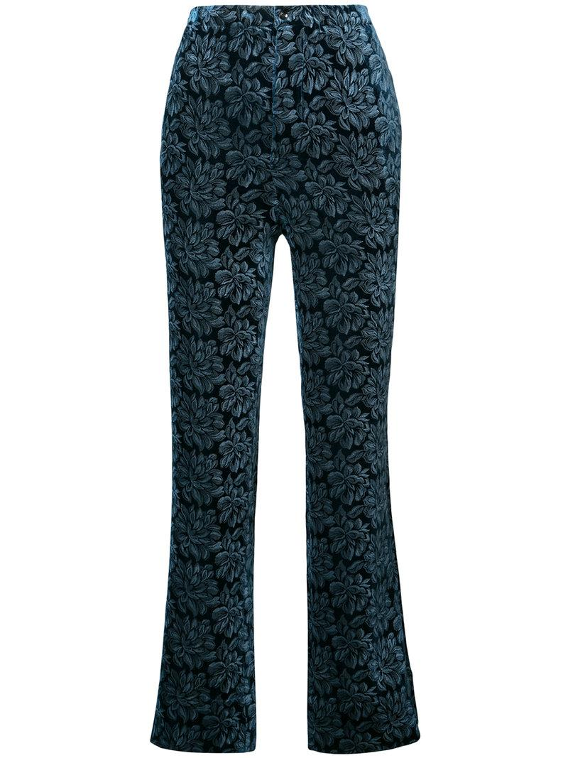Maison Margiela Floral Embroidered Trousers In Blue