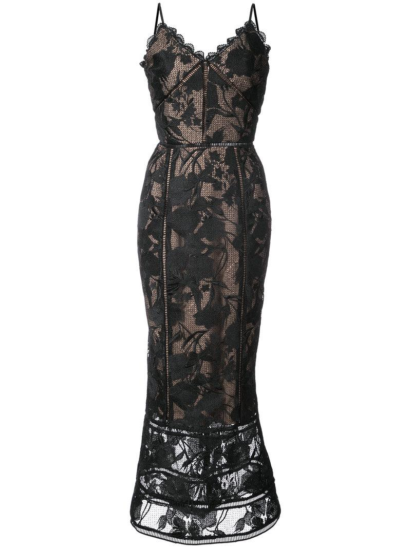 e966b915362 Marchesa Notte Guipure Lace Tea-Length Trumpet Cocktail Dress In Black