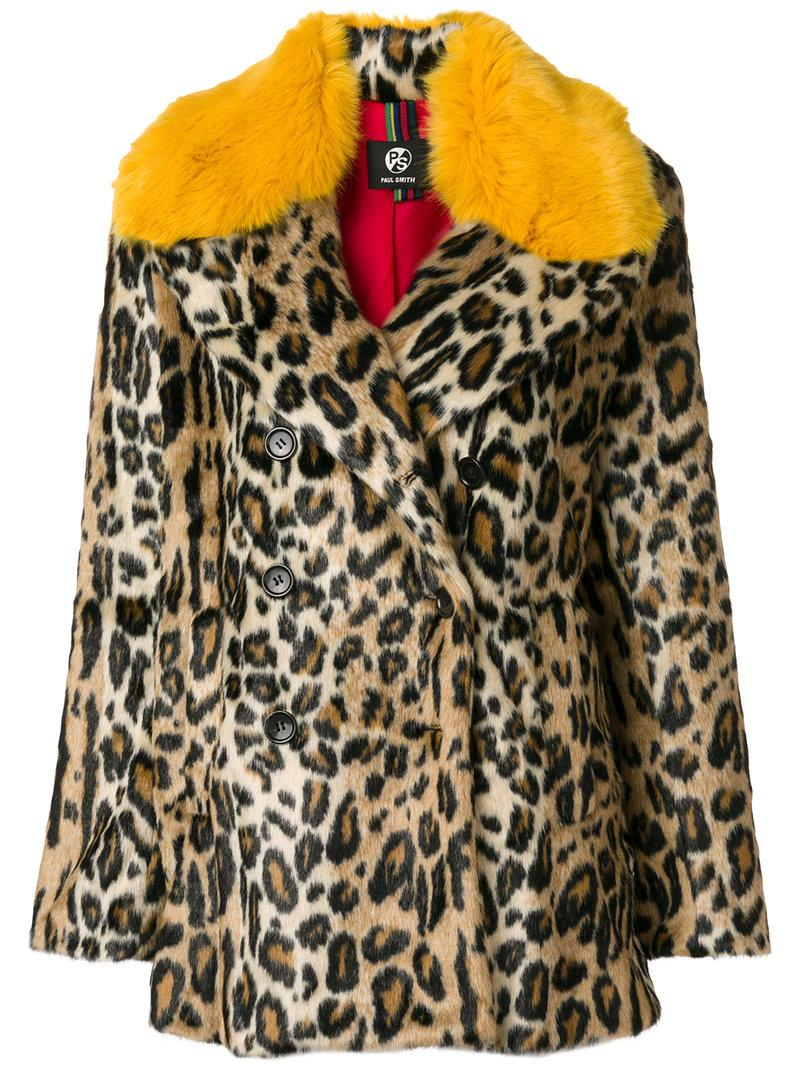 Paul Smith Leopard Print Coat In Multicolor