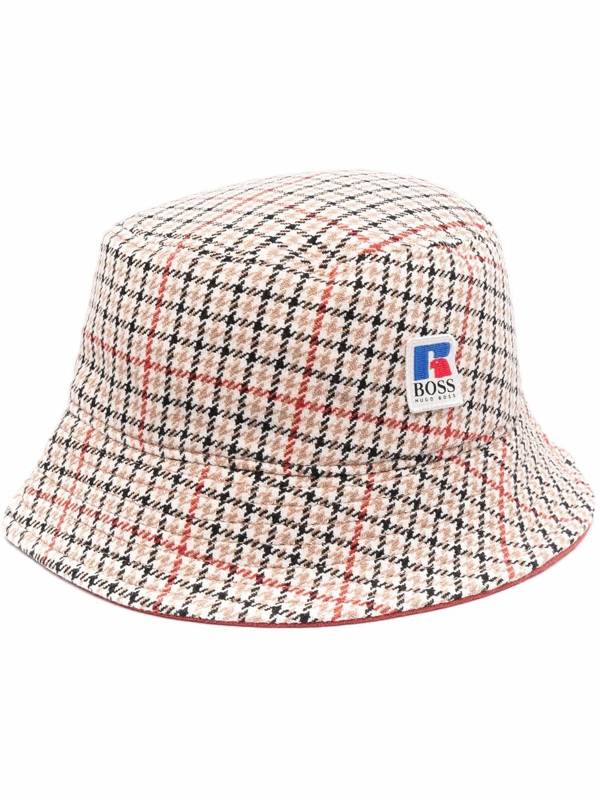 Hugo Boss X Russell Athletic Plaid Bucket Hat In Neutrals