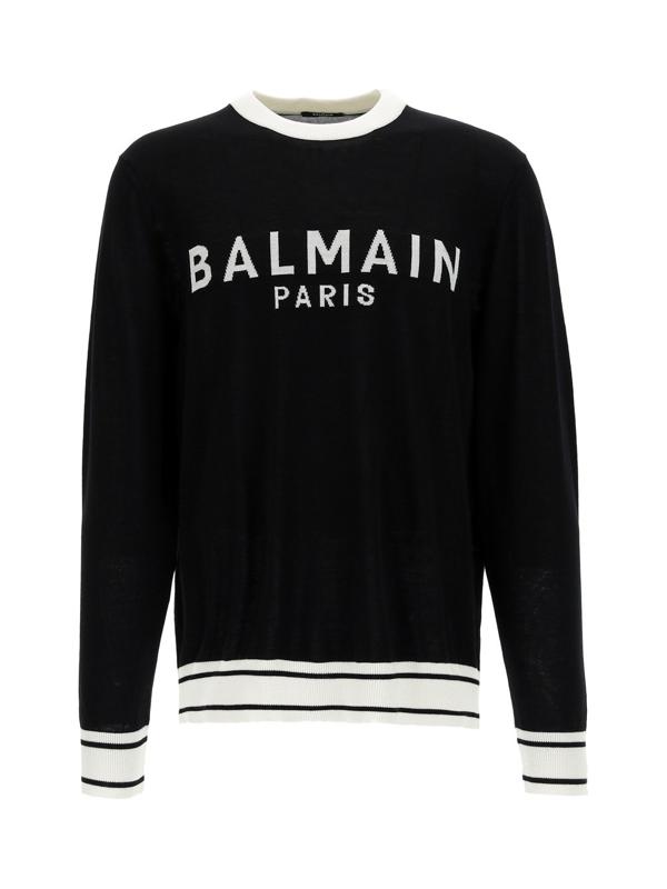 Balmain Sweaters In Noir Blanc
