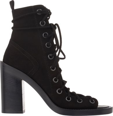 Ann Demeulemeester Black Leather Lace-Up Heeled Sandals