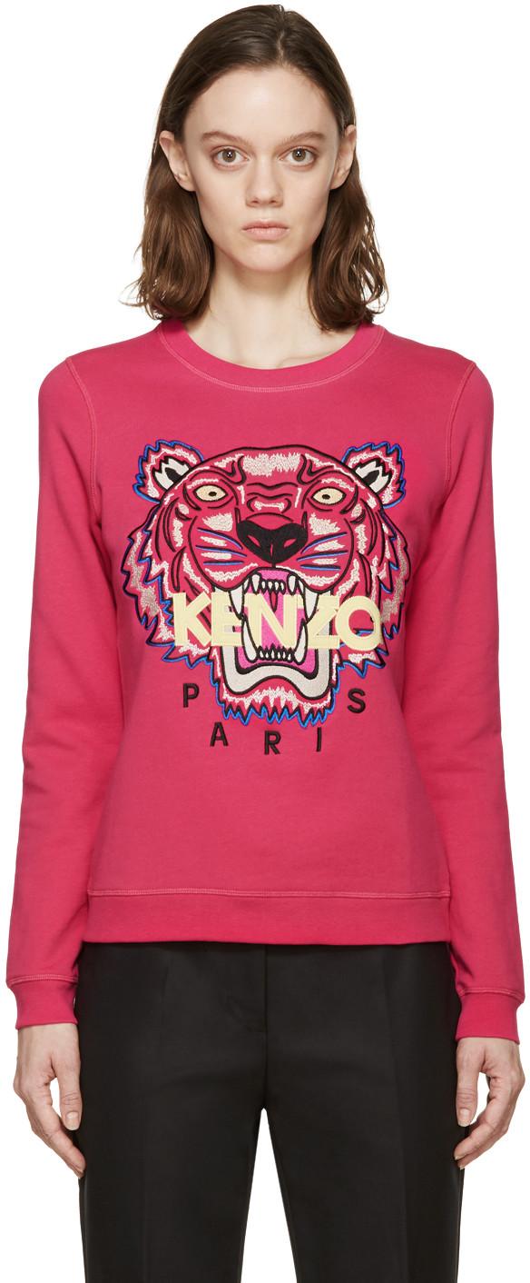 7979122c924 Kenzo Tiger Embroidered Cotton Sweatshirt In Pink | ModeSens
