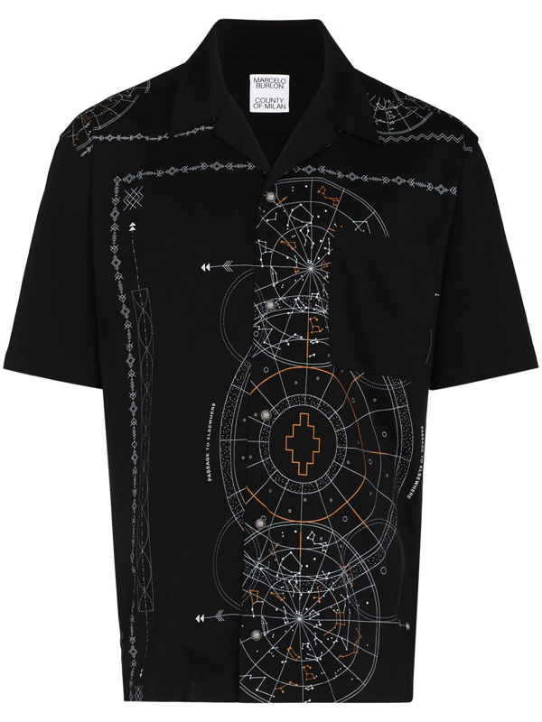 Marcelo Burlon County Of Milan Black Astral Print Bowling Shirt In 黑色