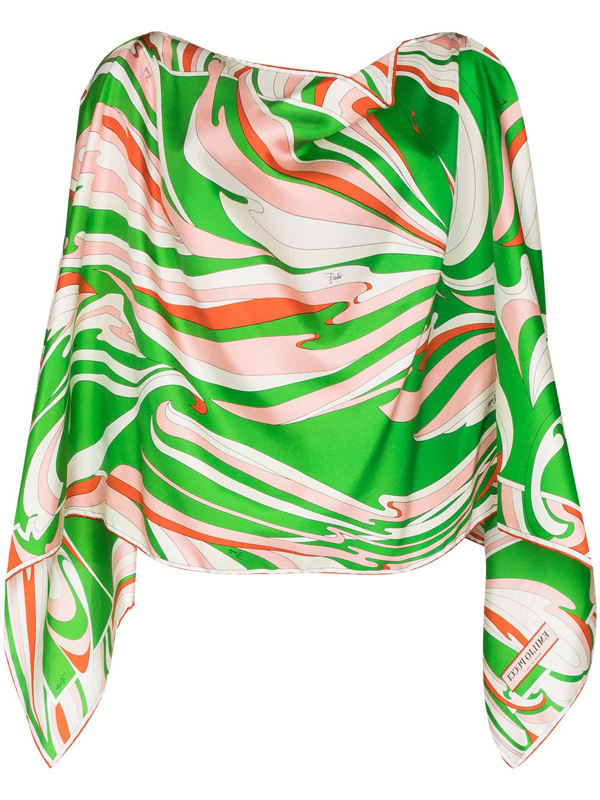 Emilio Pucci Vortici Print Draped Blouse In 绿色