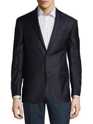 Michael Kors Two-Button Wool Blazer In Blue Black