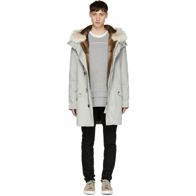 7243b2bf6641 Yves Salomon Grey Fur-Lined Long Military Parka In B0247 Ice Grey ...