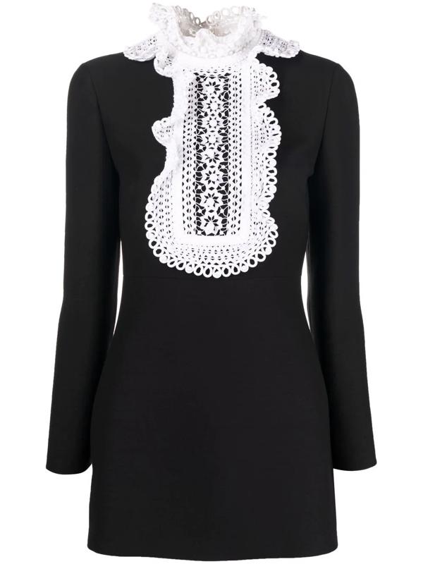 Valentino Embroidered-bib Wool-blend Crepe Mini Dress In Schwarz