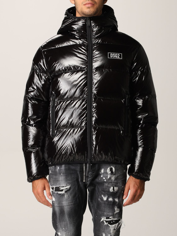 Dsquared2 Puffer Down Jacket In Shiny Nylon In Black