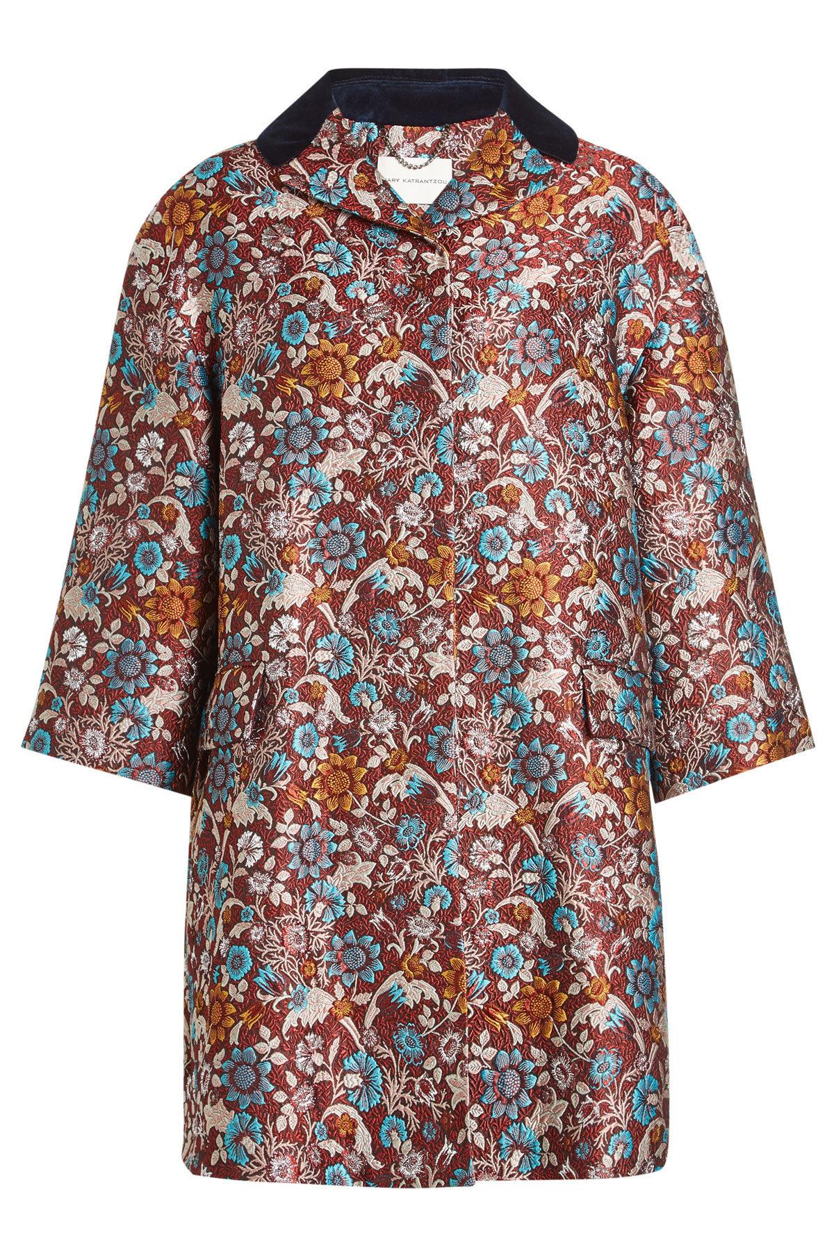 Mary Katrantzou Embroidered Coat With Silk In Multicolored