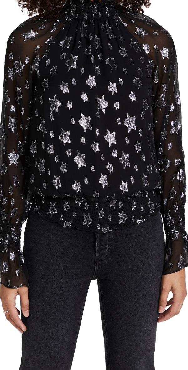 Ramy Brook Stassi Star Print Smocked Silk Blend Blouse In Black W/ Silver