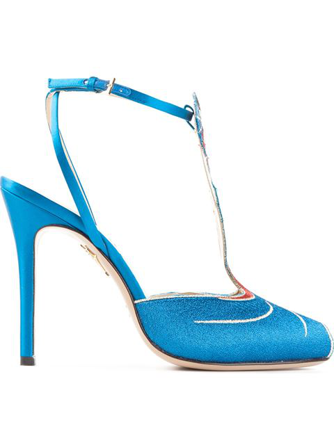 Charlotte Olympia 'Anna May Wong' Metallic Embroidery Pumps In Silk%20Satin_028_Peacock%20Blue
