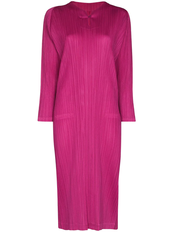 Pleats Please Issey Miyake Pink Monthly Colours Plissé Midi Dress In 粉色