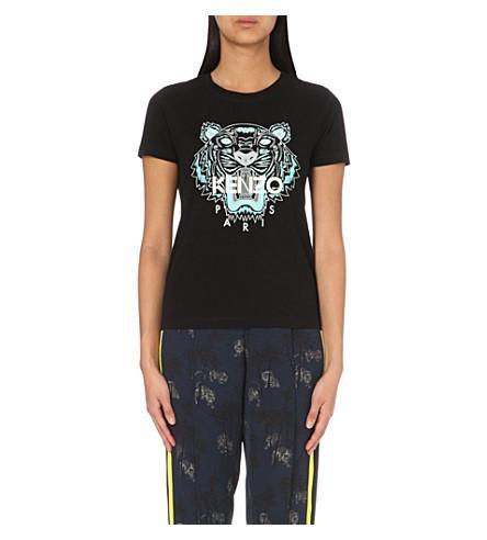 298163aa Kenzo Tiger Flyer-Print Cotton-Jersey T-Shirt In 99 Black | ModeSens