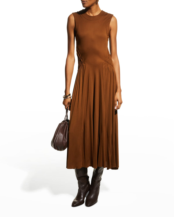 Rebecca Taylor Ruched-waist Sleeveless Dress In Cocoa