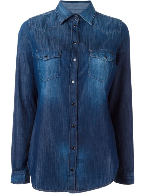 Diesel Western Denim Shirt In Blue