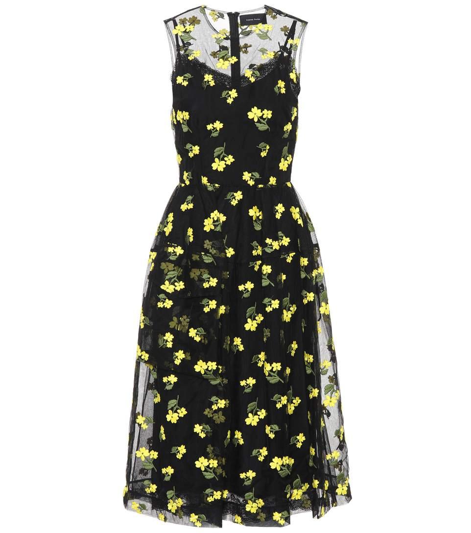 Simone Rocha Floral-Embroidered Tulle Midi Dress In Black