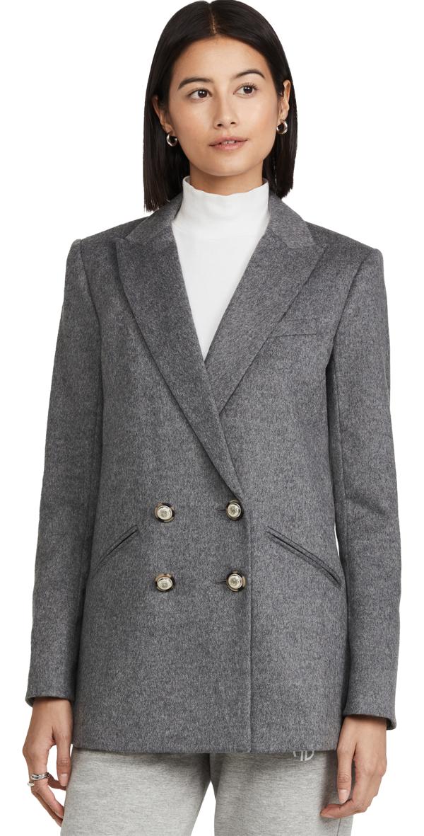 Veronica Beard Oria Dickey Grey Wool-blend Blazer