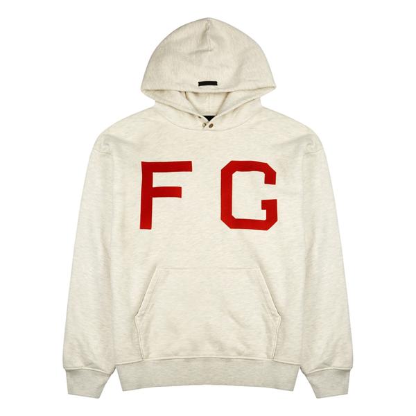 Fear Of God Monarch Logo Hooded Cotton Sweatshirt In Cream Heather