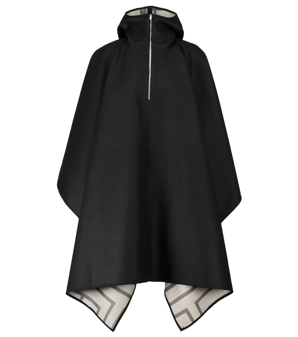 Totême Hooded Asymmetric Wool Poncho In Black