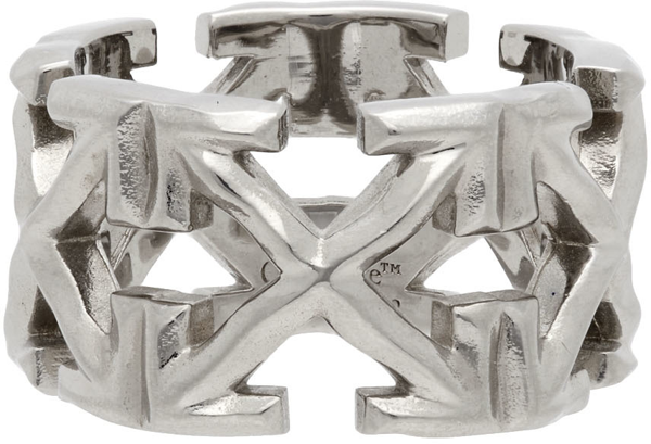 Off-white Silver Melted Arrows Ring In Metal