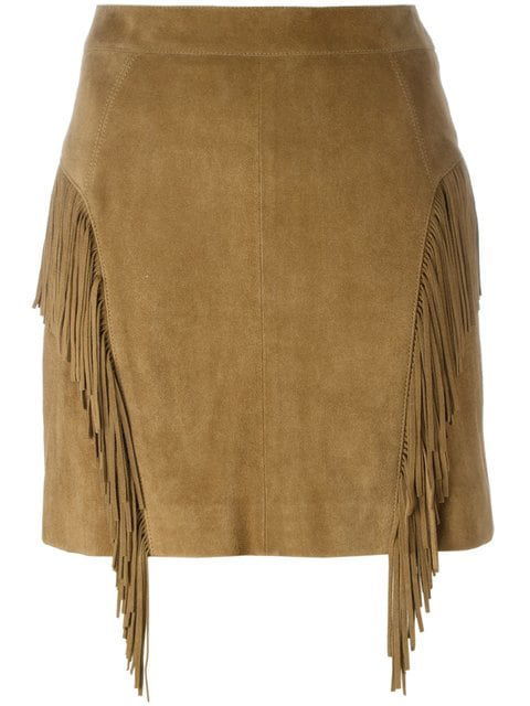 00e8341a6bf Saint Laurent Fringed Suede Mini Skirt, Tobacco In Brown | ModeSens