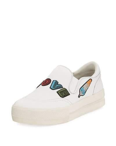 Ash Jess Leather Embroidered Sneakers, White