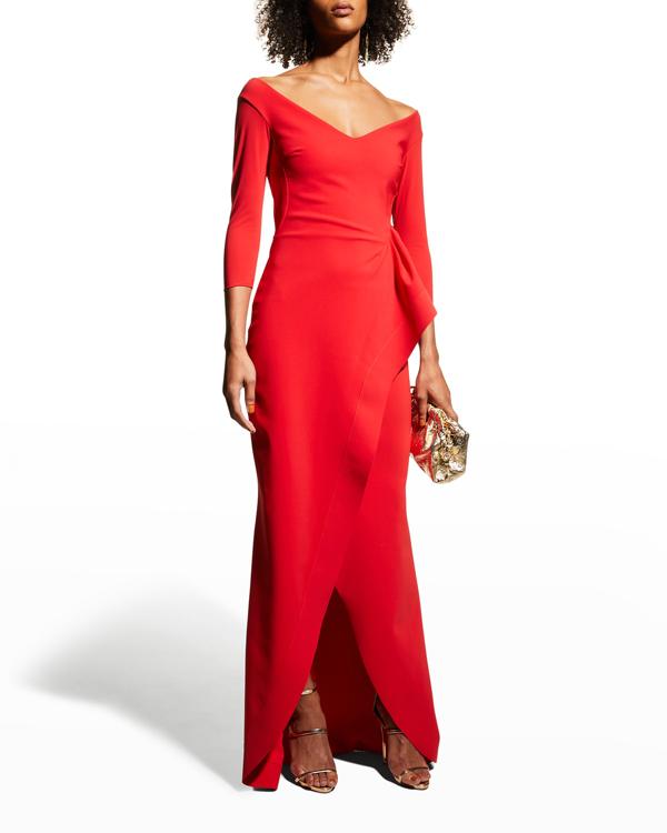 Chiara Boni La Petite Robe V-neck Off-shoulder Ruched Hip Gown In Passion