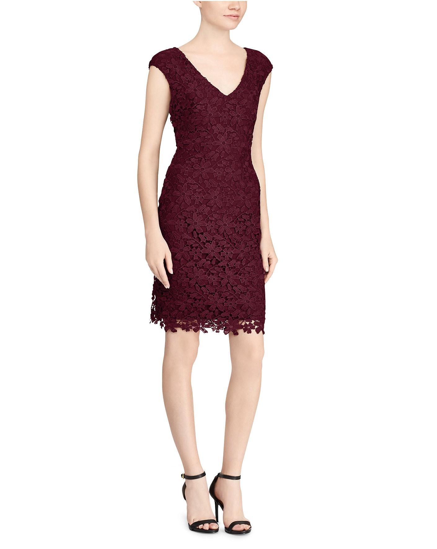 Ralph Lauren Lauren  Floral Lace Dress In Red