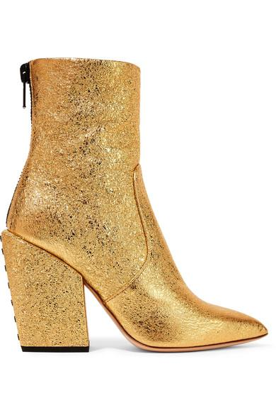 Petar Petrov Solar Metallic Cracked-Leather Ankle Boots In Gold
