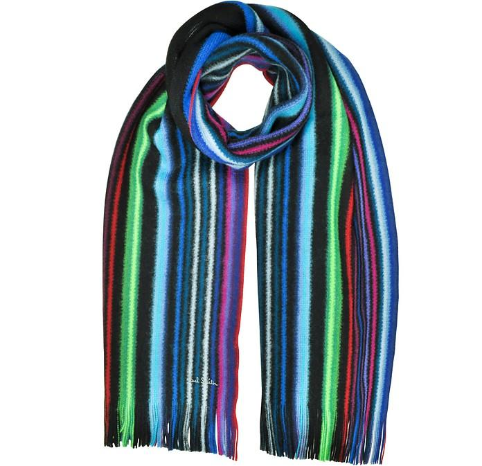 Paul Smith Neon Stripe Merino Wool Men's Scarf