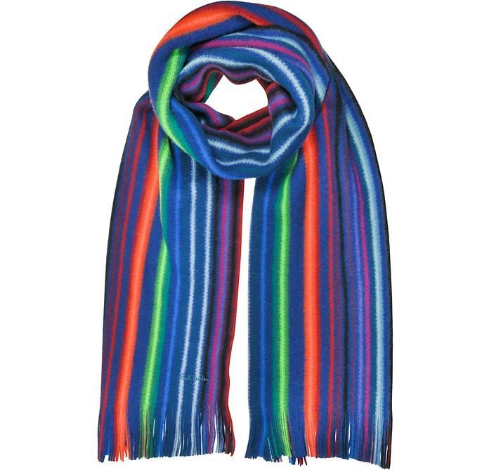 Paul Smith Neon Stripe Merino Wool Men's Scarf