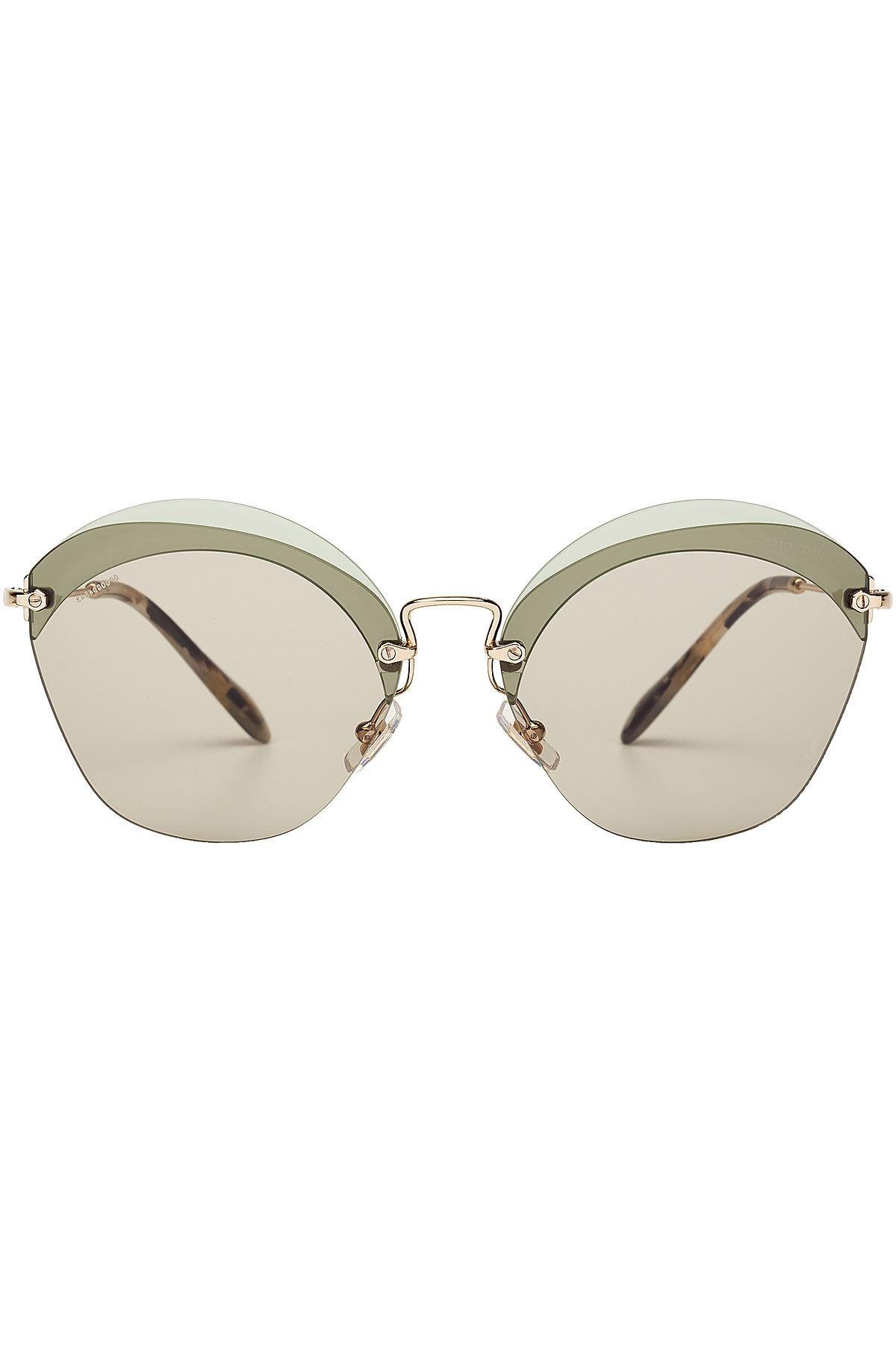 Miu Miu Cat-Eye Frame Metal Sunglasses In Green