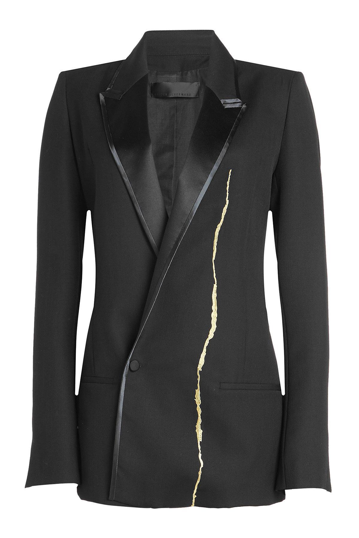 Haider Ackermann Fleecewool Blazer With Metallic Thread In Black