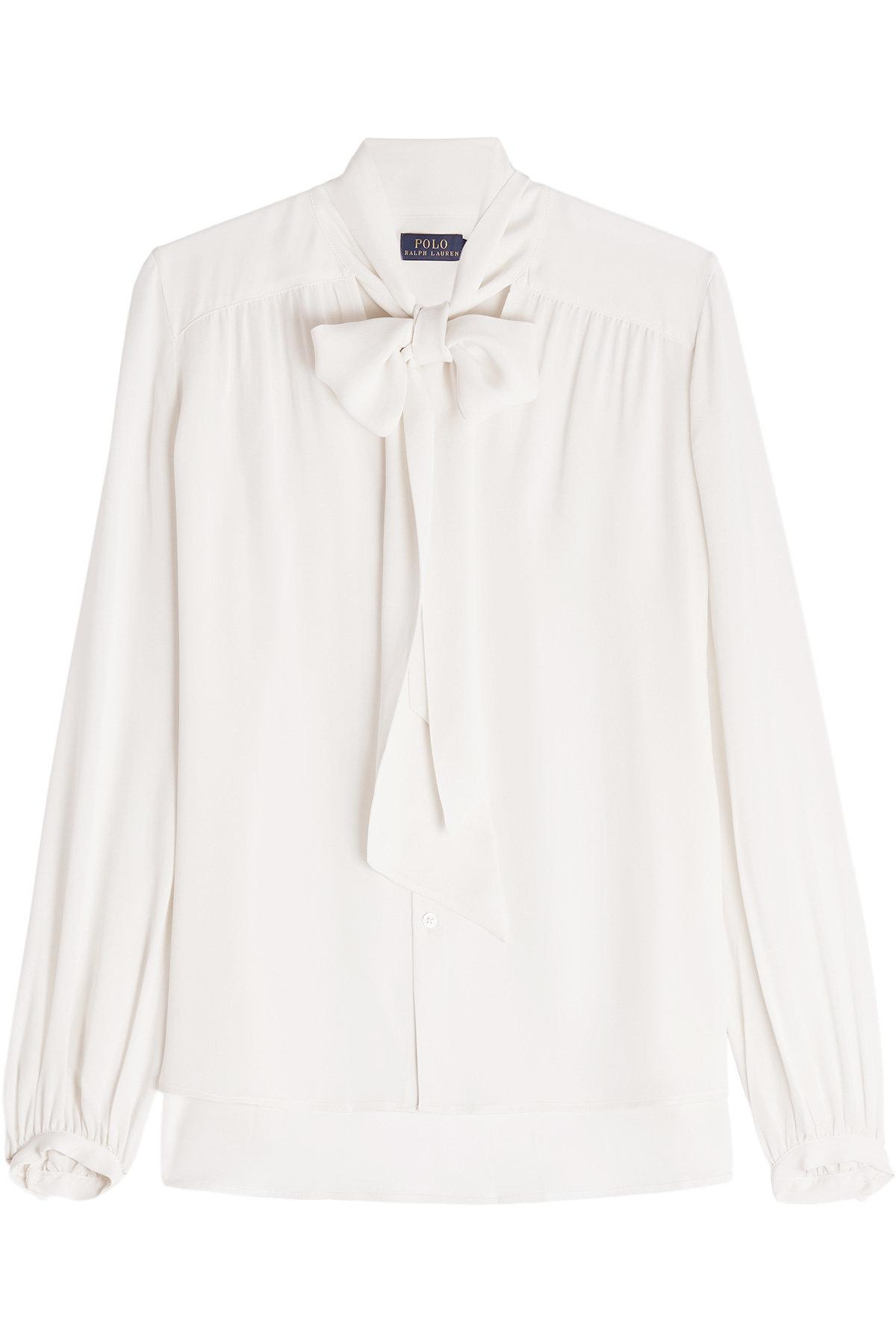 Polo Ralph Lauren Silk Blouse With Bow In White