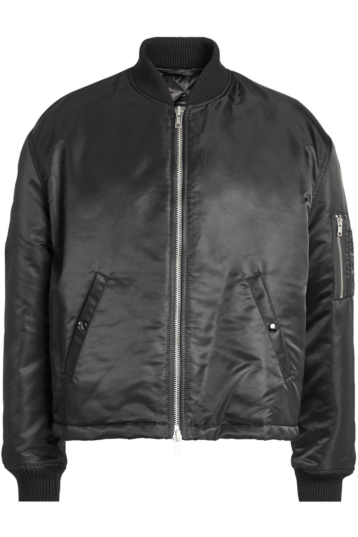 Raf Simons Satin Bomber Jacket In Black