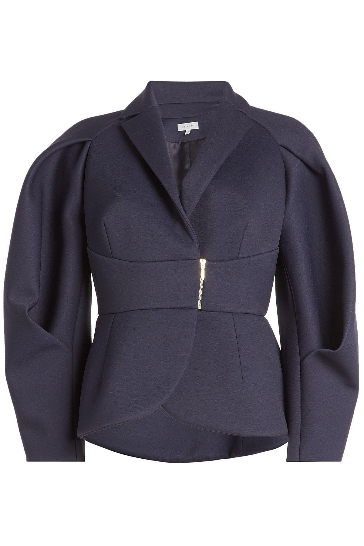 Delpozo Structured Jacket With Wool In Blue