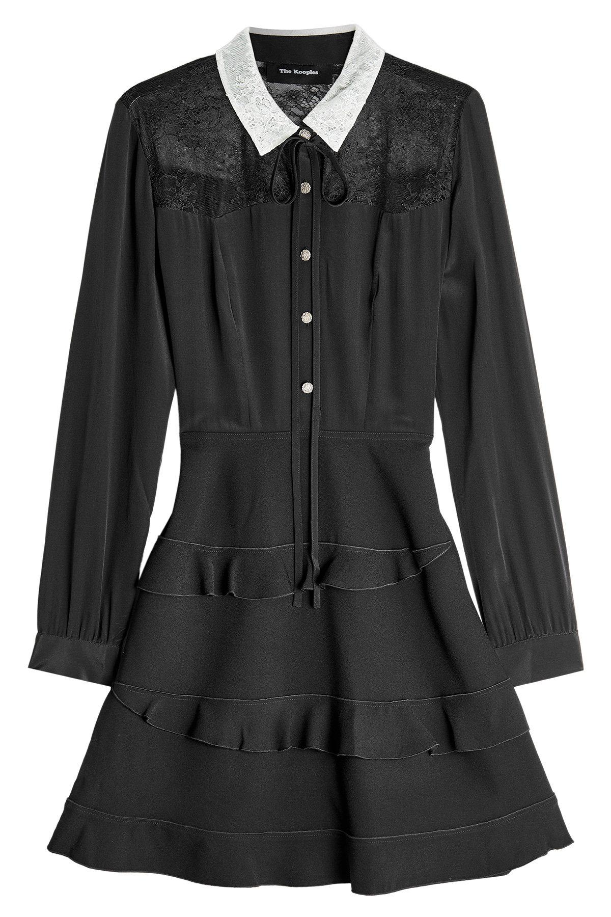 The Kooples Silk Dress With Lace And Ruffles In Black