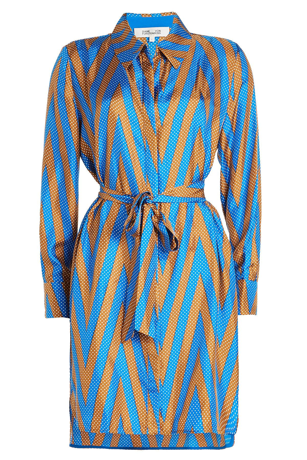 Diane Von Furstenberg Printed Silk Wrap Dress In Multicolored