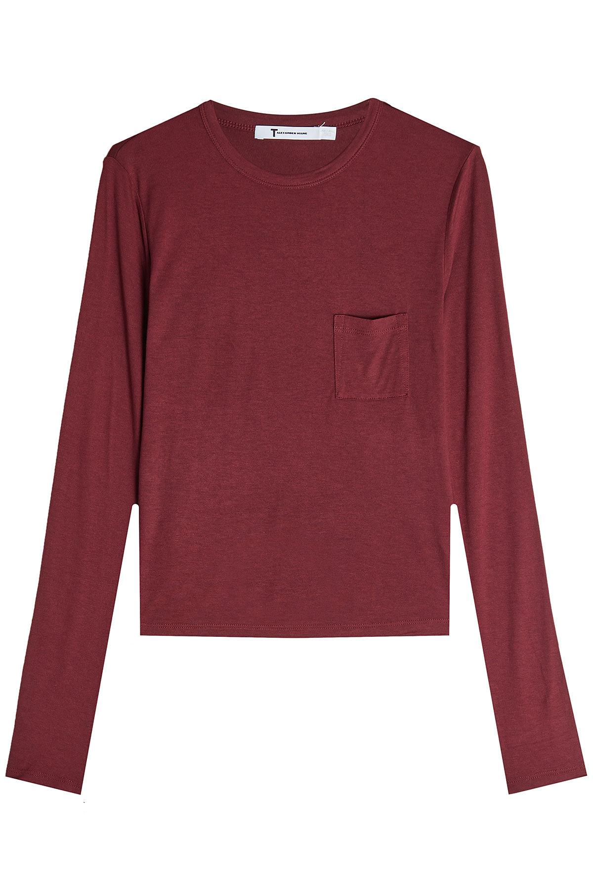 T By Alexander Wang Long Sleeved Jersey Top In Red