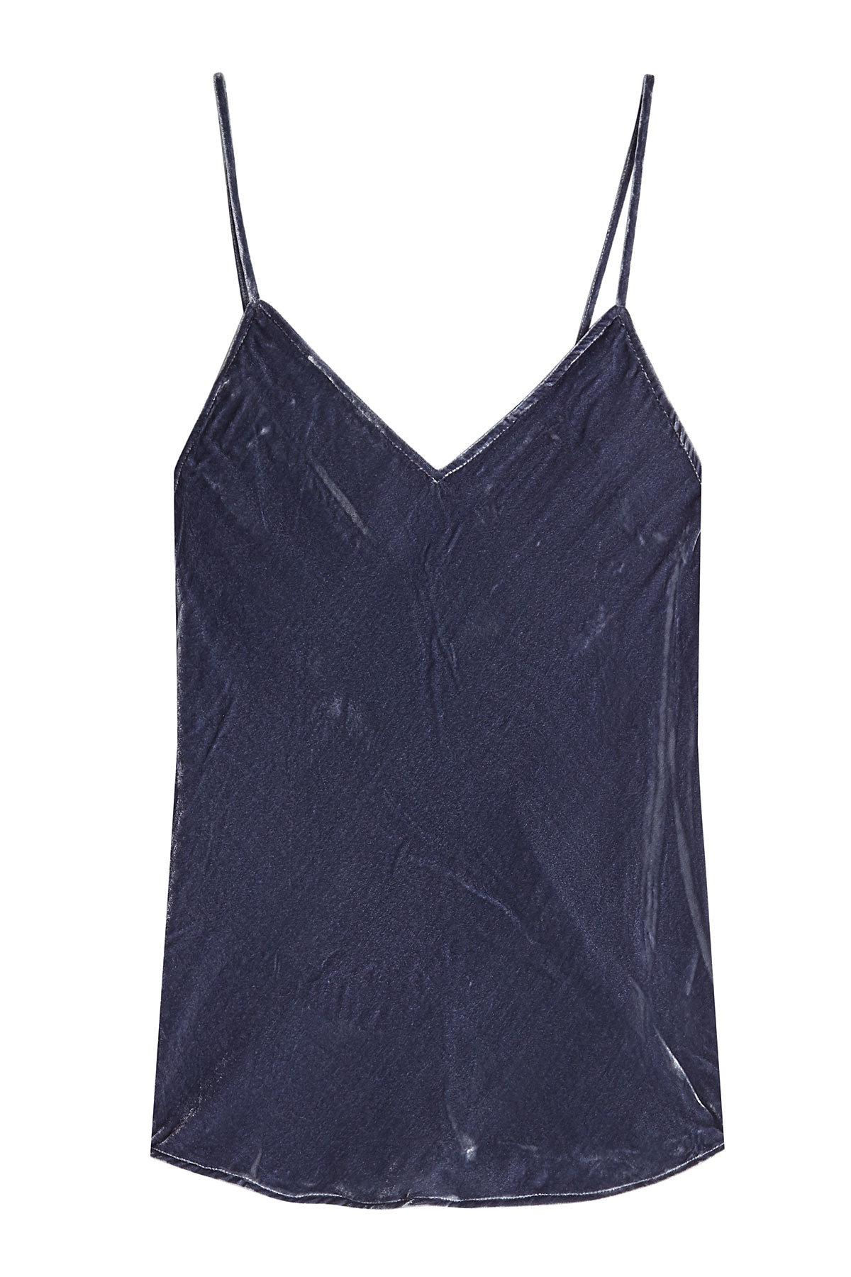 Mes Demoiselles Velvet Camisole With Silk In Blue
