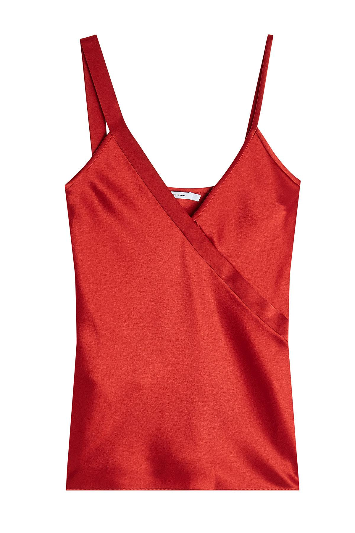 T By Alexander Wang Satin Camisole In Red