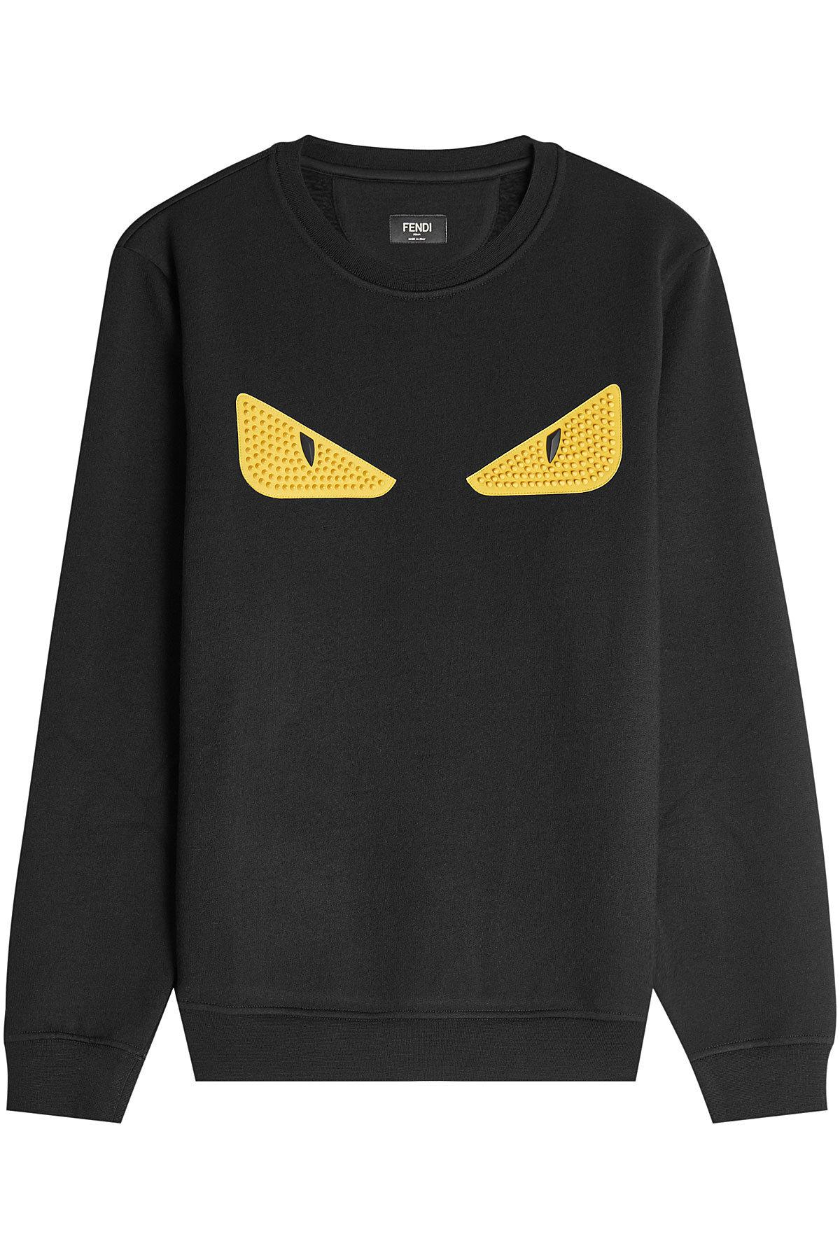 Fendi Embellished Sweatshirt In Wool And Cotton With Leather Eyes In Black