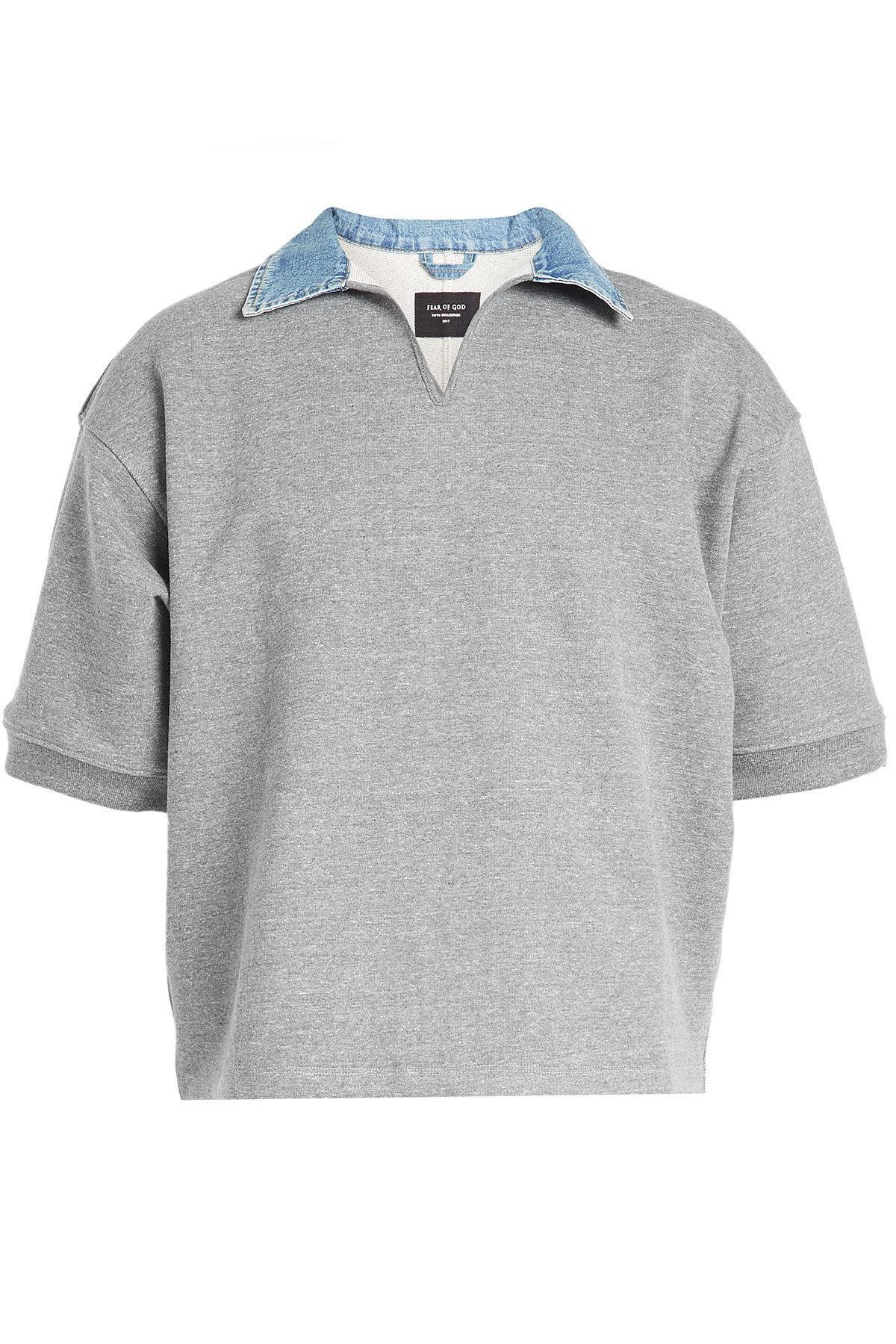 Fear Of God Denim Collar Sweatshirt With Cotton In Grey
